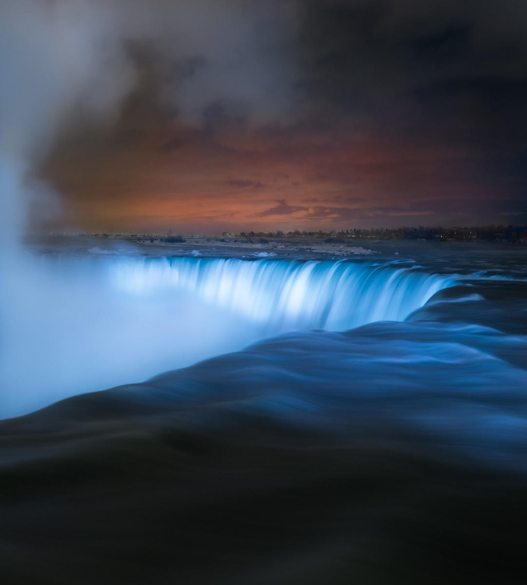 An Illuminated Niagara Falls Captured in a January Freeze by