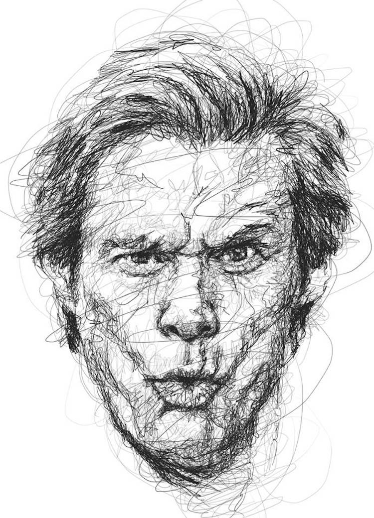 Fine Line Drawing Artists : Portraits of jim carrey in the scribble style technique