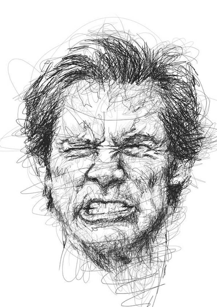 Drawing Scribble Face : Portraits of jim carrey in the scribble style technique