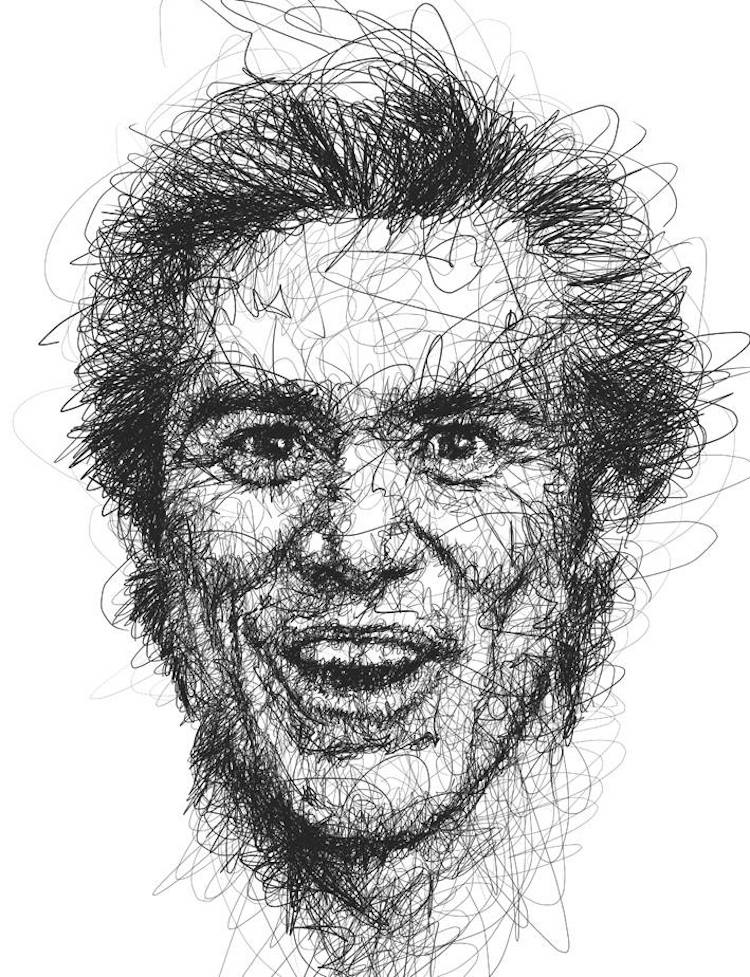 Scribble Drawing Technique : Portraits of jim carrey in the scribble style technique