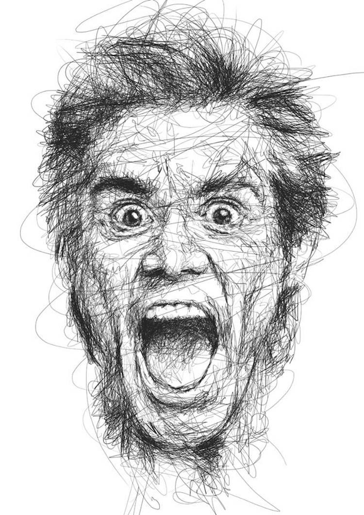Drawing Scribble Method : Portraits of jim carrey in the scribble style technique