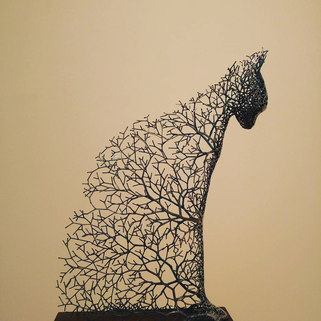 Hollow Animal Sculptures Constructed From a Network of Metal Branches by Kang Dong Hyun