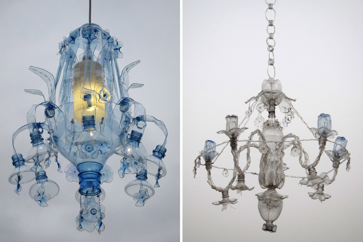 Chandeliers constructed from recycled plastic pet bottles by this similarity inspired her series of pet luminaries a project composed of fully functioning light systems in the form of chandeliers and lamps arubaitofo Image collections