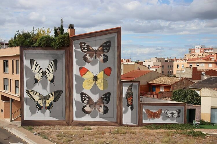 Super-Realistic Collection Of 3D Butterflies On Buildings Around The World