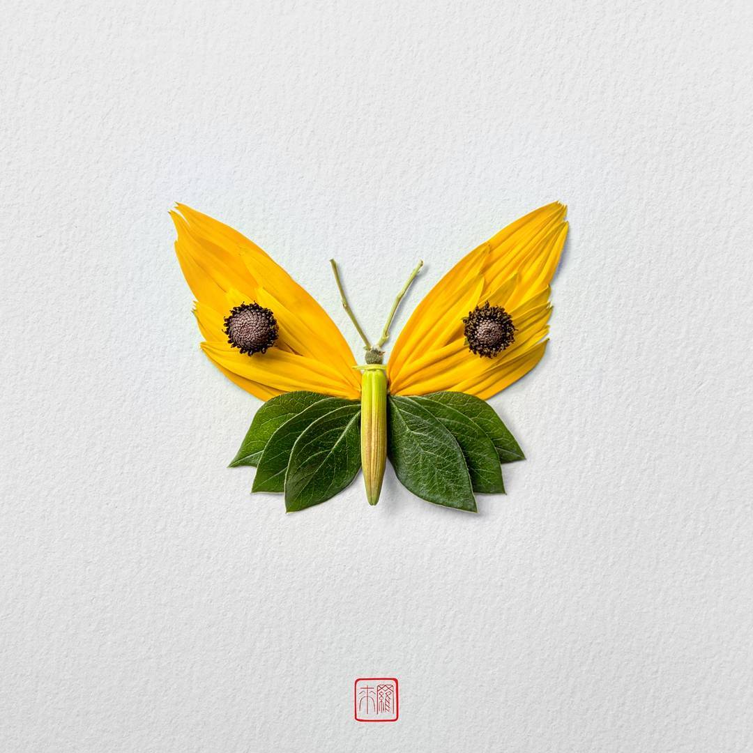 New Flower Arrangements Formed Into Exotic Butterflies by Raku Inoue ...