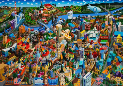 Vuk Vučković's rather targeted painted panoramas of the most famous cities