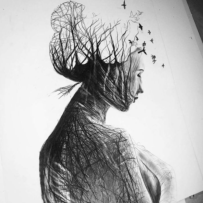 Mother Nature In Pencil Drawings By Gina Iacob Usa Art News