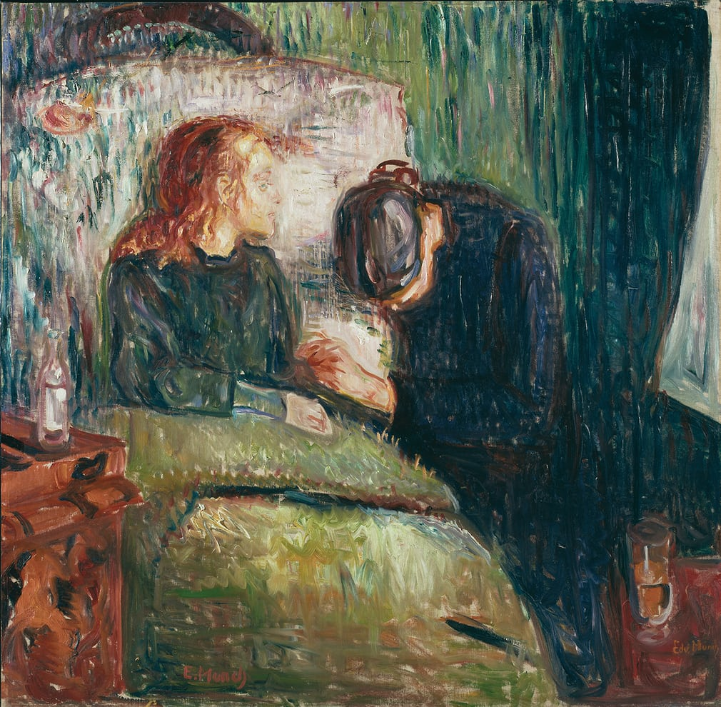 Edvard Munch: 'Between the Clock and the Bed'