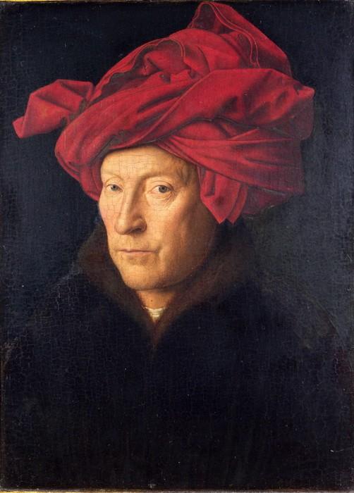 Jan van Eyck. 'Portraitof aManin aRed Turban'(Self-Portrait?), (1433)