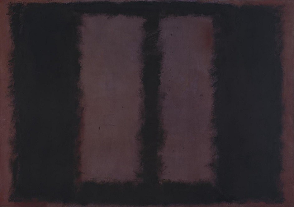 """Abstract Expressionism. Mark Rothko. Painting """"Black on Brown"""", 1958."""