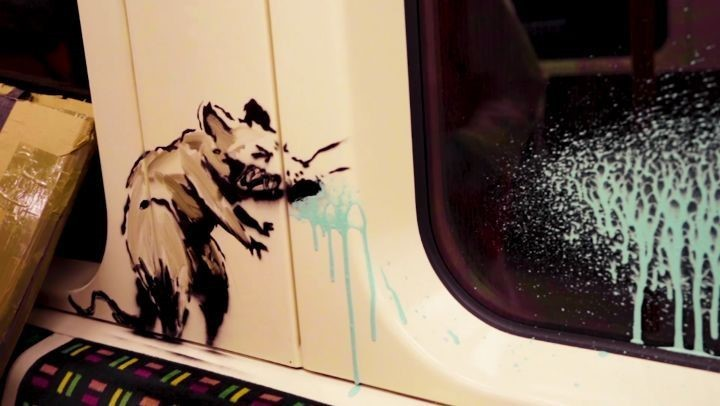 Banksy painted a sneezing rat in a London Underground car. Employees erased the graffiti
