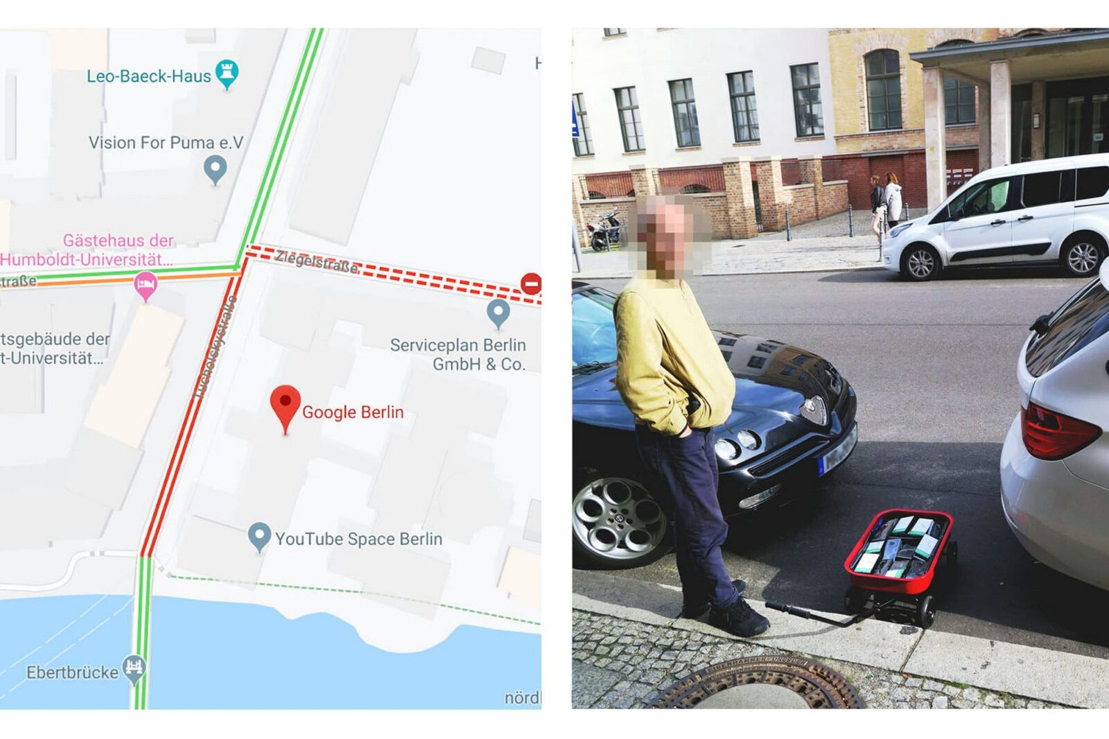 An artist with cart full of mobile phones hacked Google Maps and created fake traffic jams in Berlin