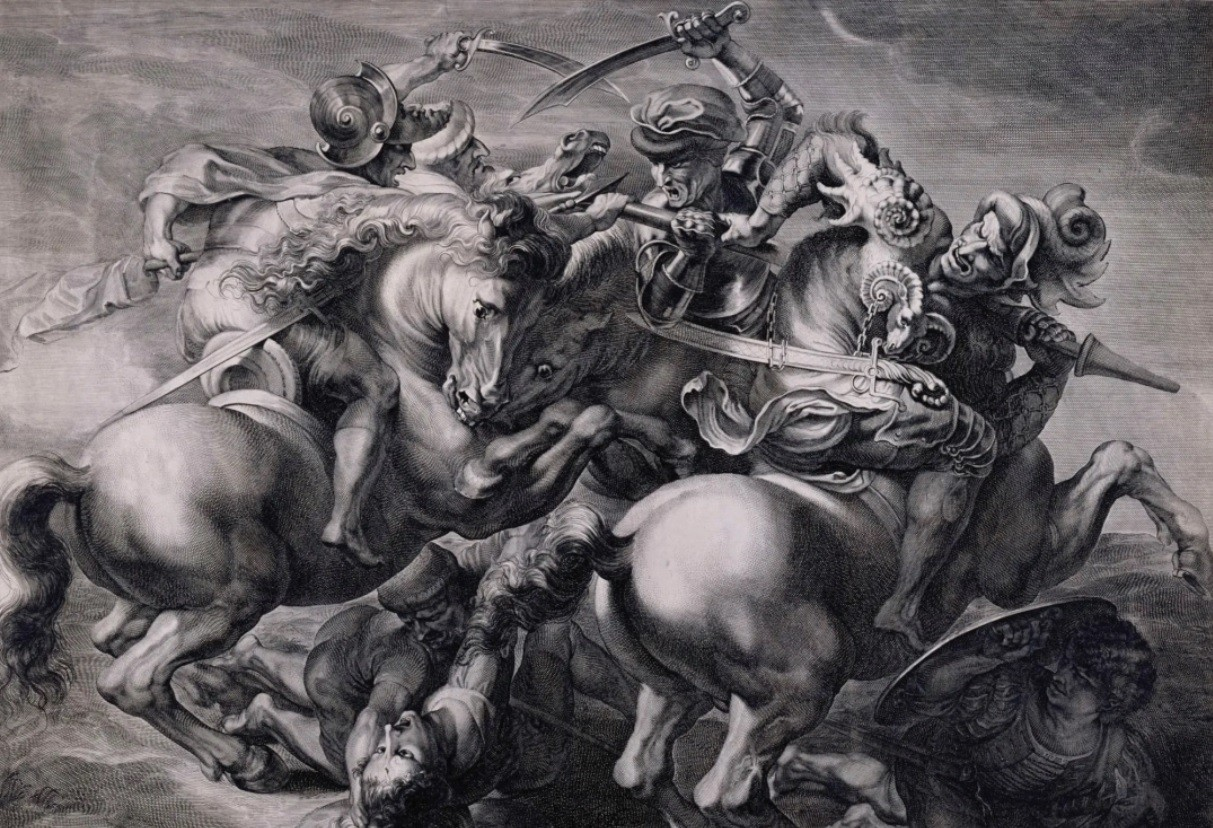 "Gerard Edelinck, ""Battle of Anghiari (by Rubens),"" c. 1660. Royal Academy of Arts, London"