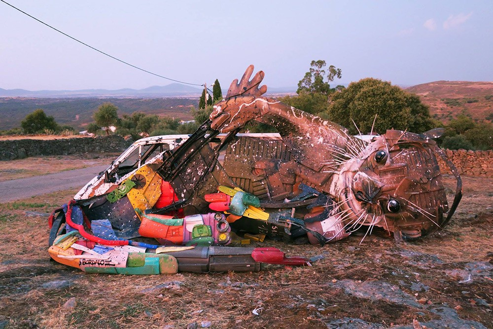 Trash Sculptures by Bordalo II Combine Wood and Colorful Plastics Into Gigantic Animals