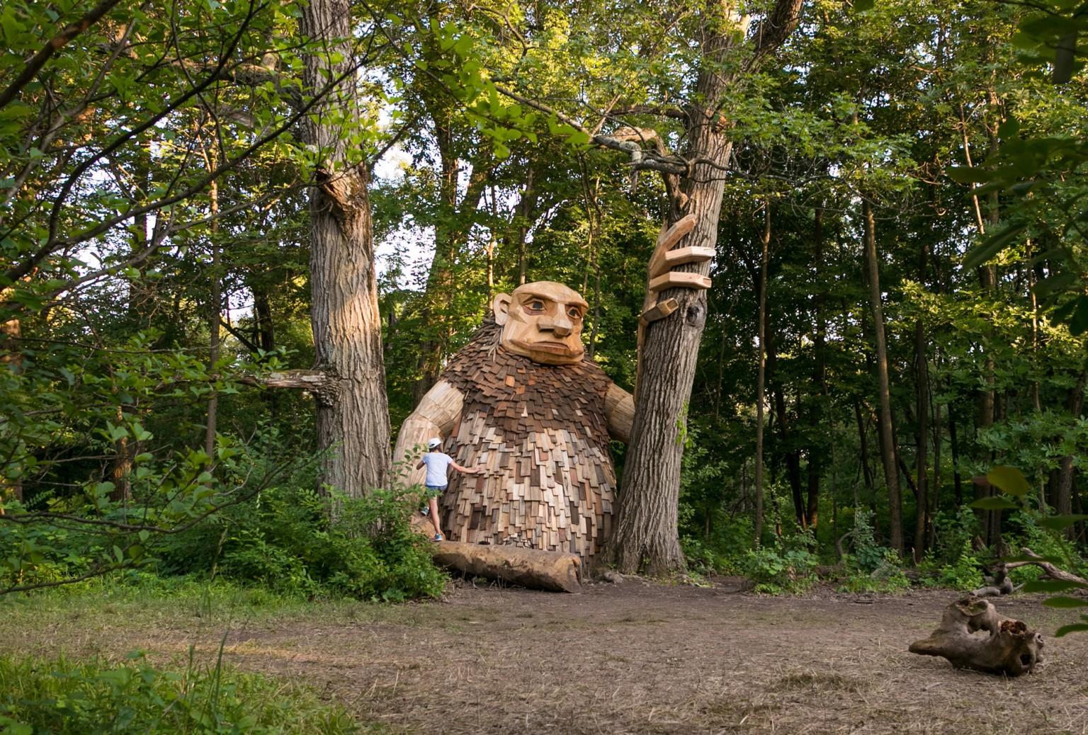 Mischievous Wooden Trolls Take Over an Arboretum in Northern Illinois