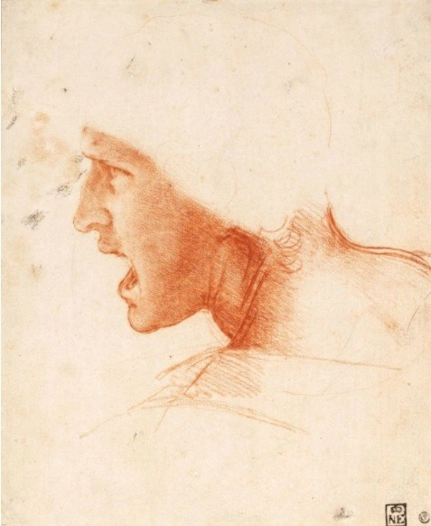 "Leonardo da Vinci, ""Warrior's Head (sketch for the Battle of Angiari)"", 1500s. Museum of Fine Arts, Budapest."