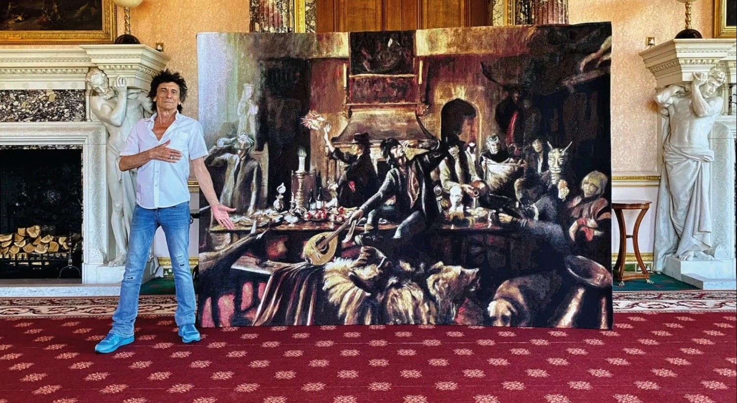 Rolling Stones guitarist Ronnie Wood exhibited his own paintings