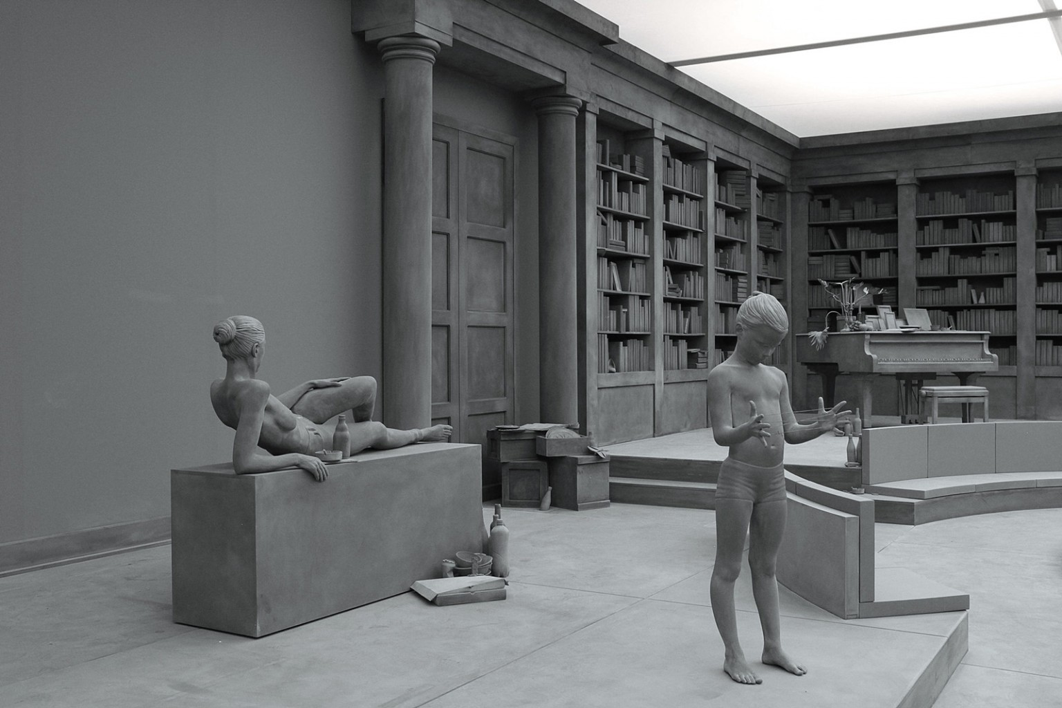 Lifelike Sculpted Figures and Immersive Monochrome Environments by Hans Op de Beeck