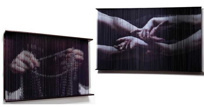 By stretched strings. Three-dimensional sculptures from the series String Mirrors