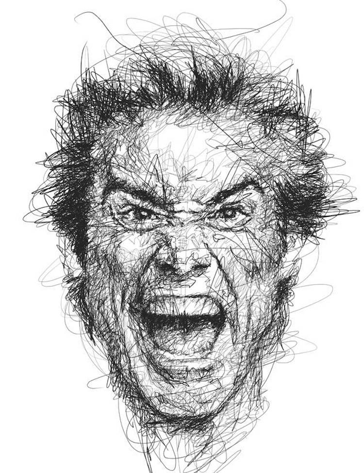Portraits of Jim Carrey in the Scribble-Style Technique Captured the Legendary Expressions of the Actor