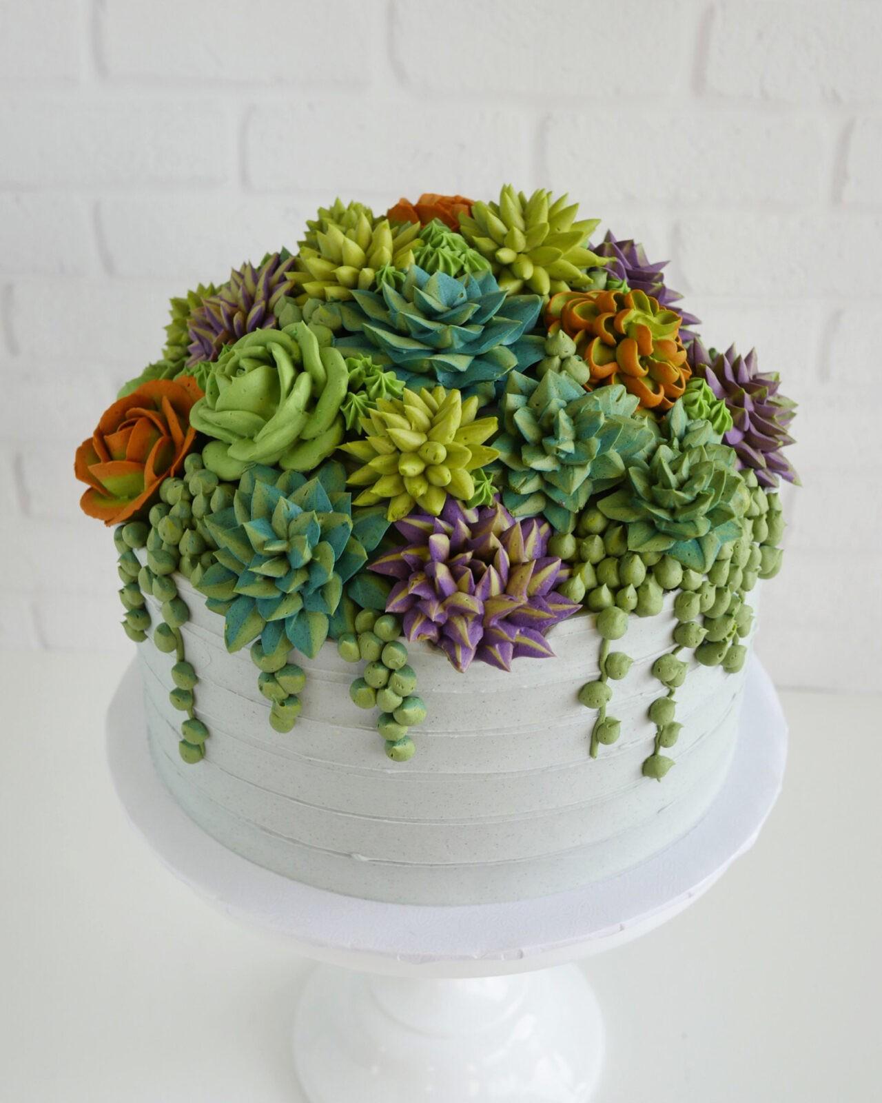 Buttercream Succulents Decorate Edible Planters by Leslie Vigil