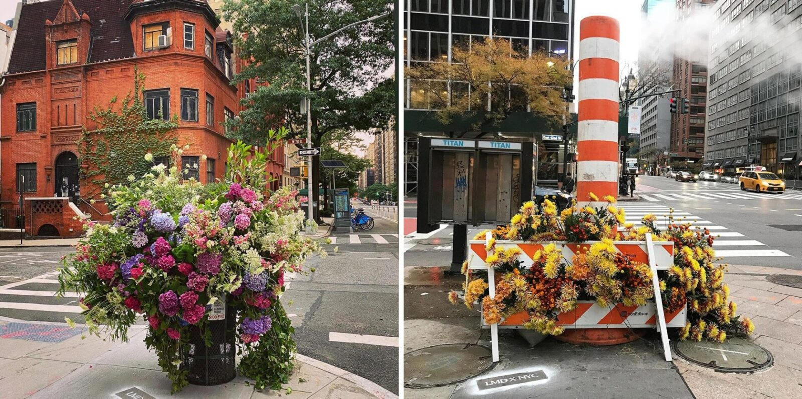 Flower installations in garbage cans and phone booths on the streets of New York