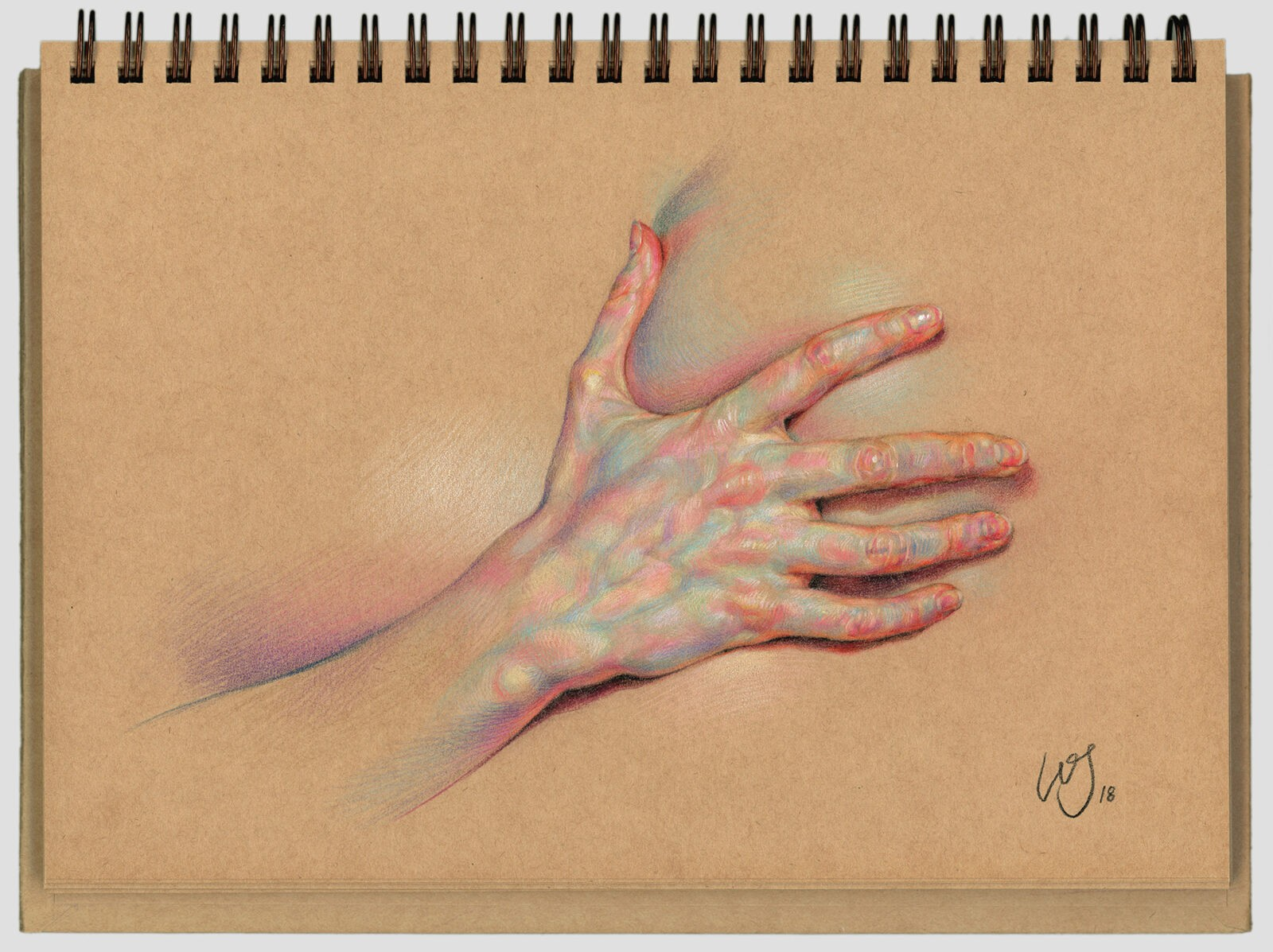 Dramatic Anatomical Drawings Comprised of Complex Hatched Colors by WanJim Gim