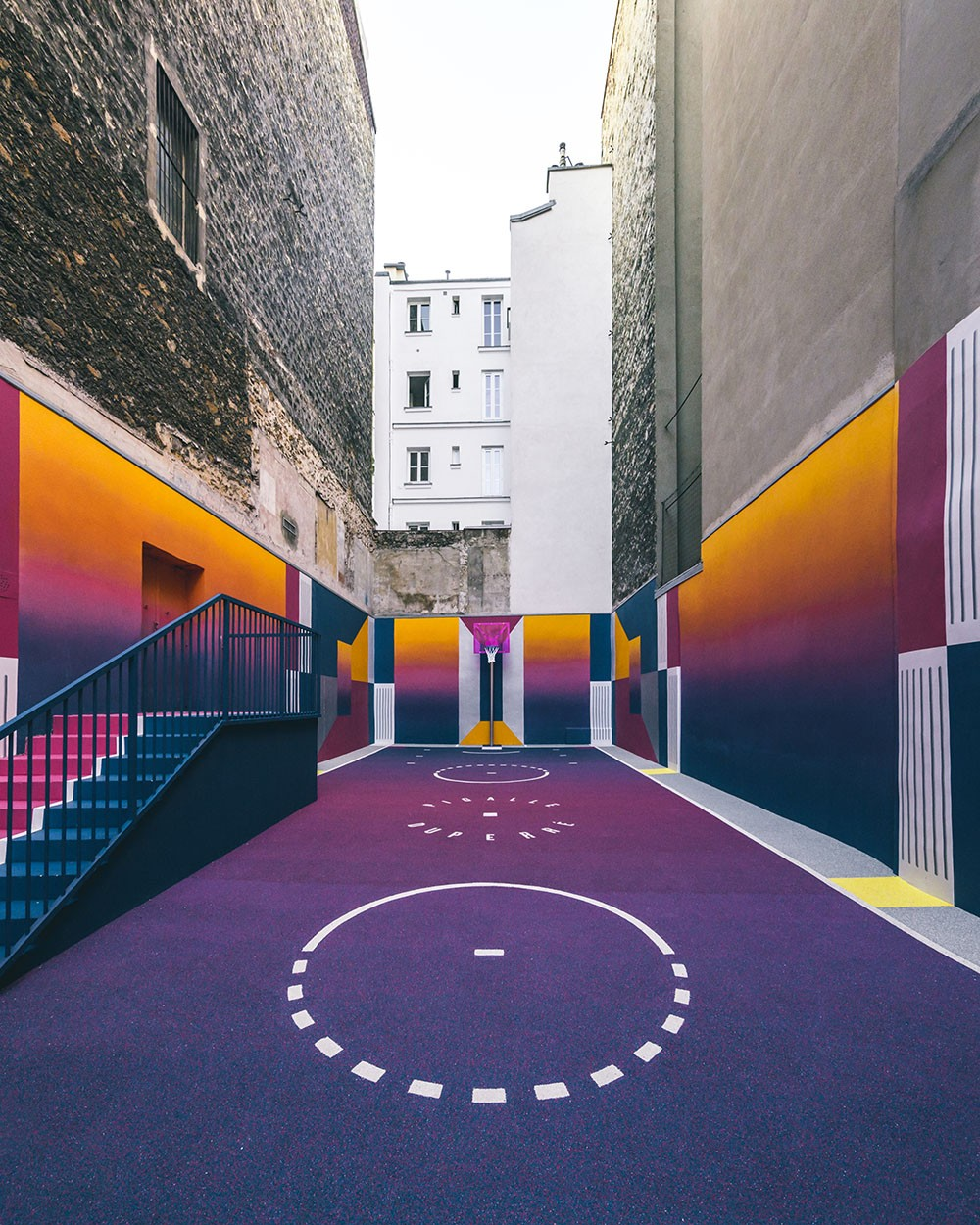 In Paris, Arranged an Unusual Basketball Court
