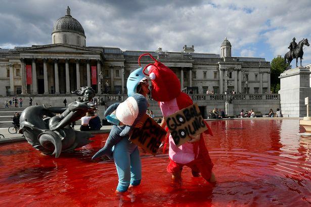 "Activists organized provocative ""bloody"" performances on Trafalgar Square"