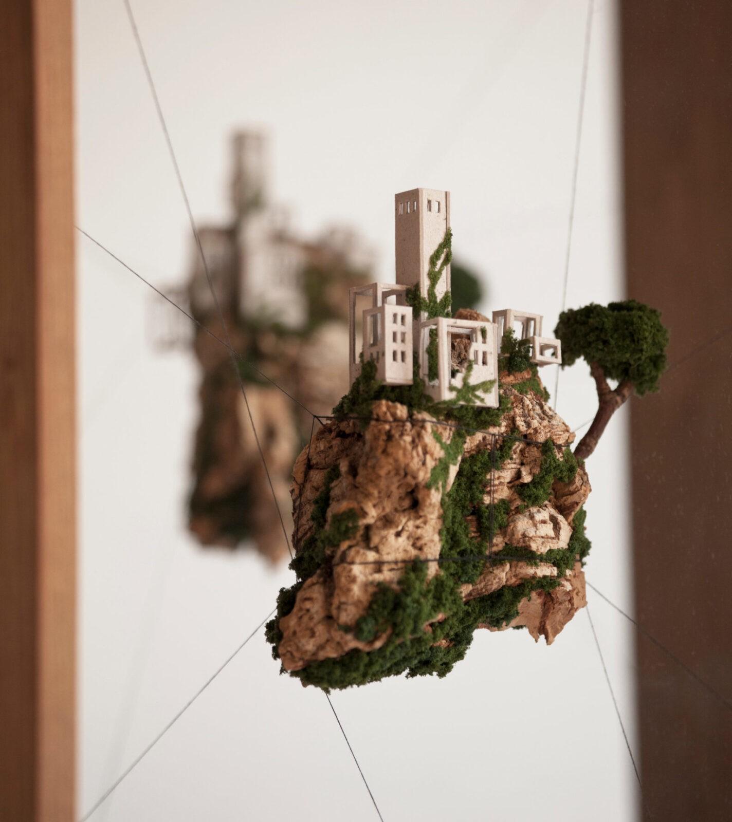 New Miniature Houses on Cork Cliffs Float Inside Handmade Wooden Frames