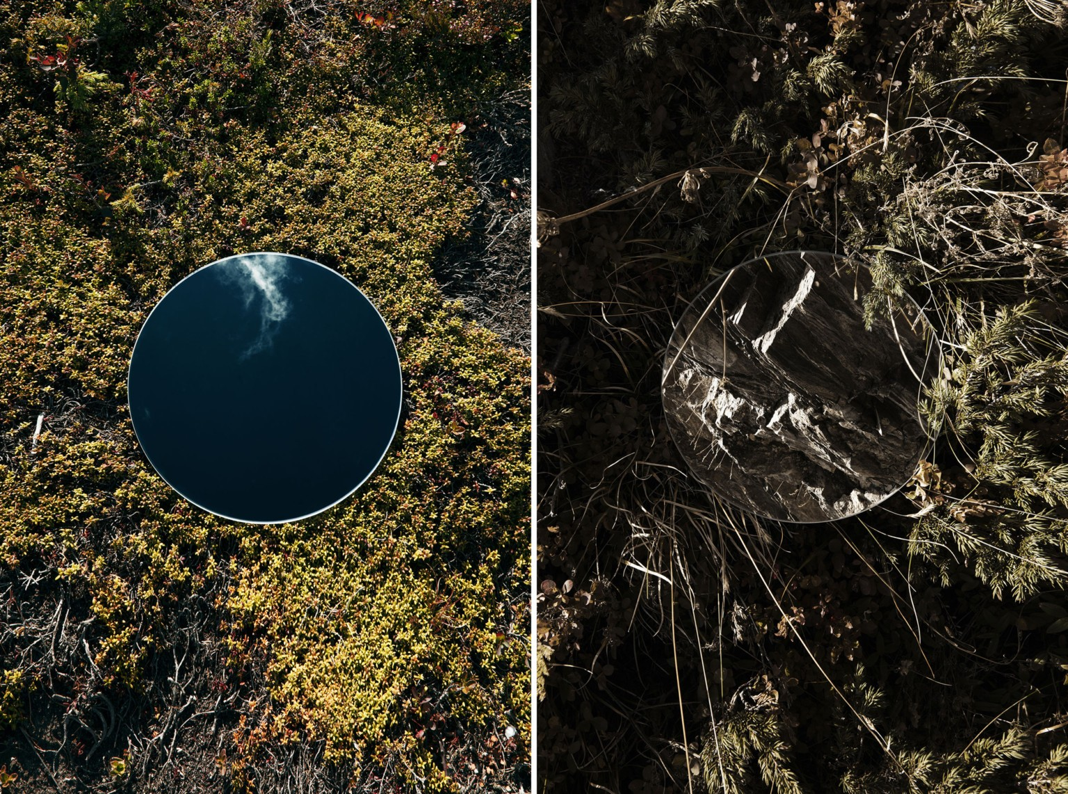 Abstracted Dual Landscapes Created Using Cleverly Placed Mirrors