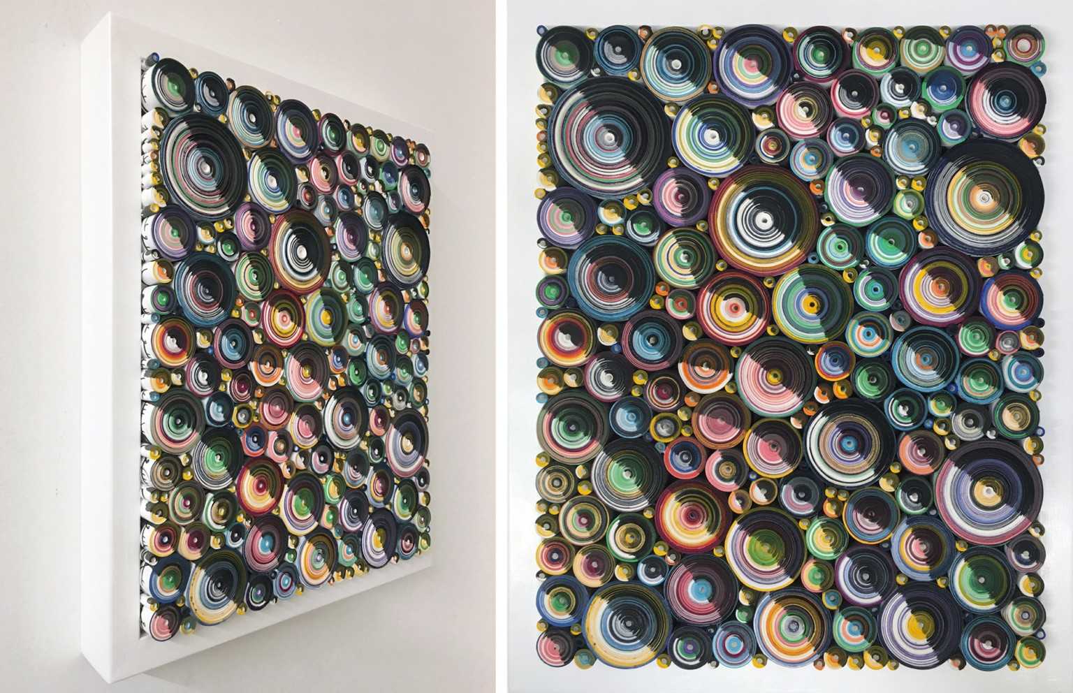 Dizzying Scrolls of Hand-Colored Paper Form Bas-Relief Sculptures by Hadieh Shafie