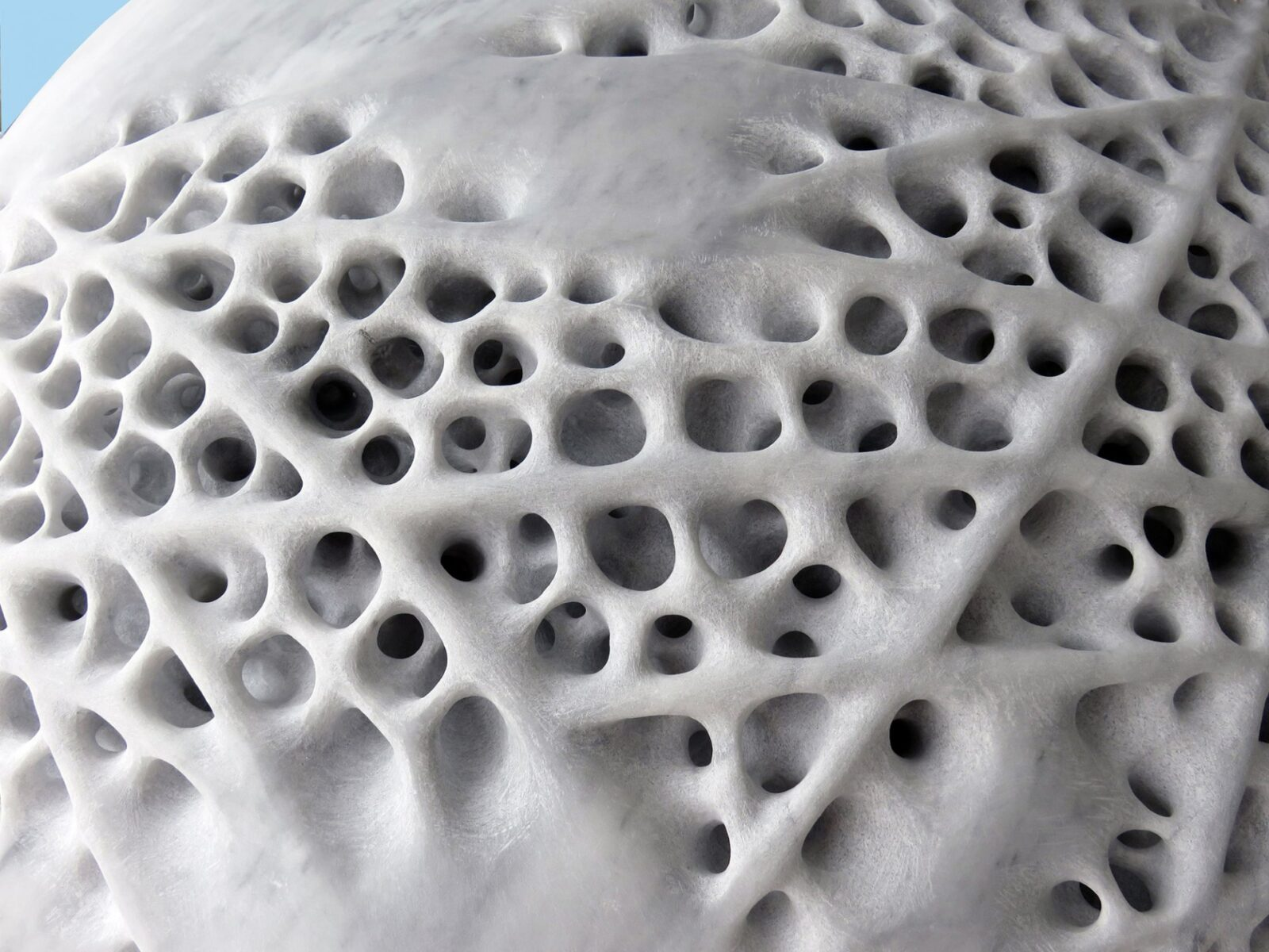 Porous Boulder-Like Sculptures Chiseled from Italian Marble by Sibylle Pasche