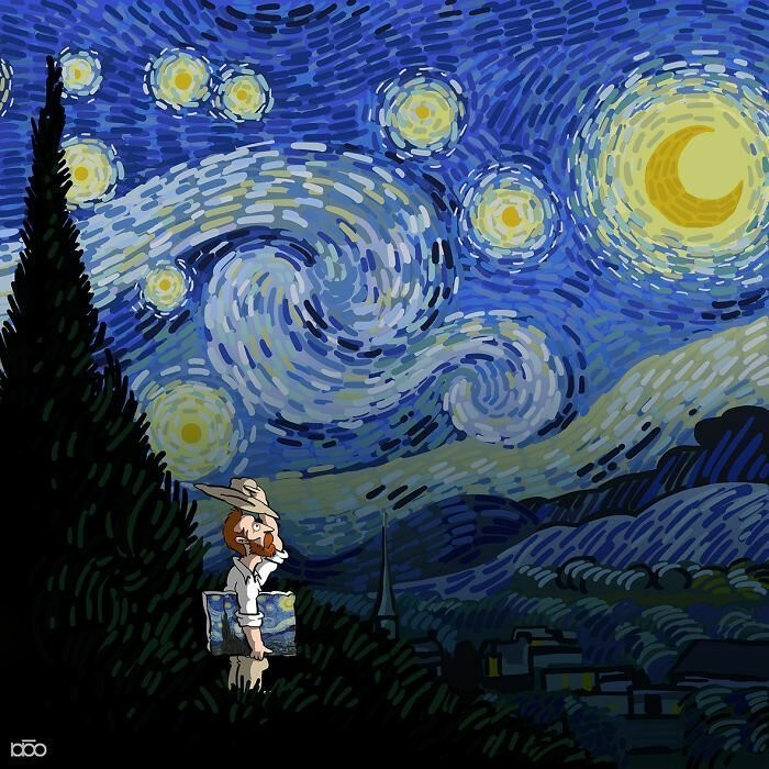Touching stories of Van Gogh from an Iranian cartoonist