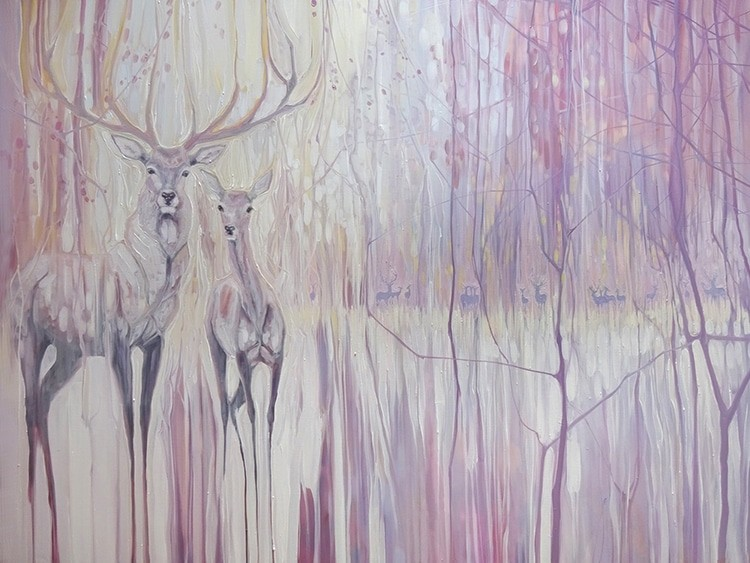 Gill Bustamante's PsychedelicPaintings Depict Animals WithinVbrant Woodlands