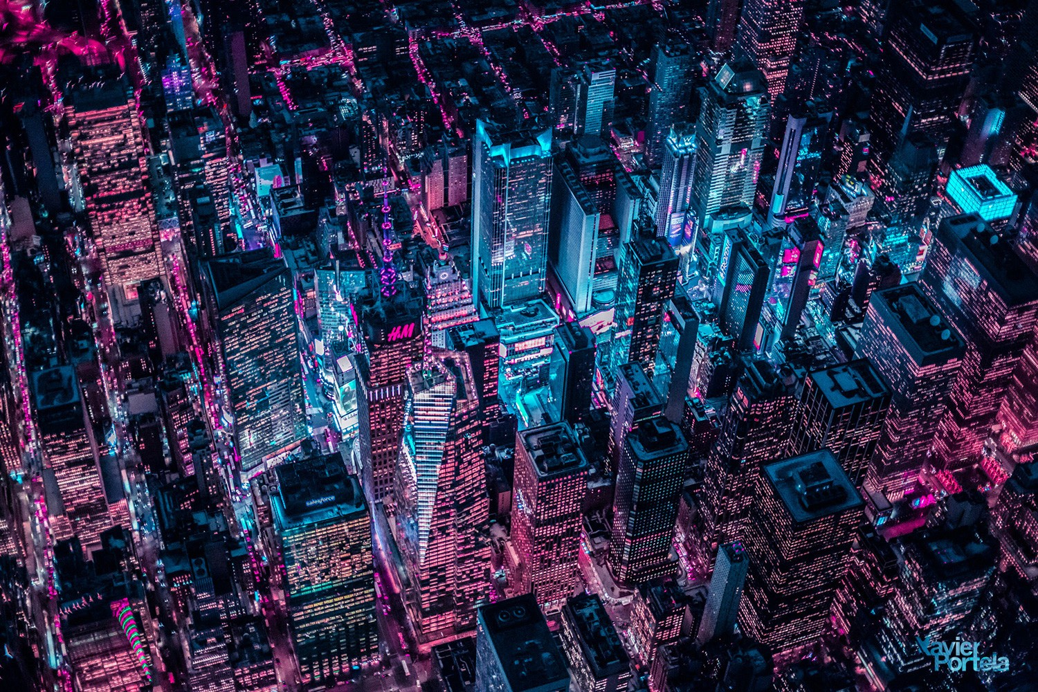 Aerial Explorations of International Cityscapes Washed in a Neon Glow by Xavier Portela