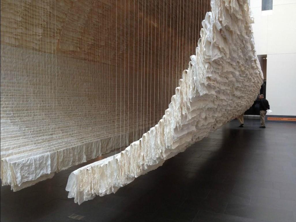 Zhu Jinshi, Boat, 2012. Xuan paper, bamboo and cotton thread